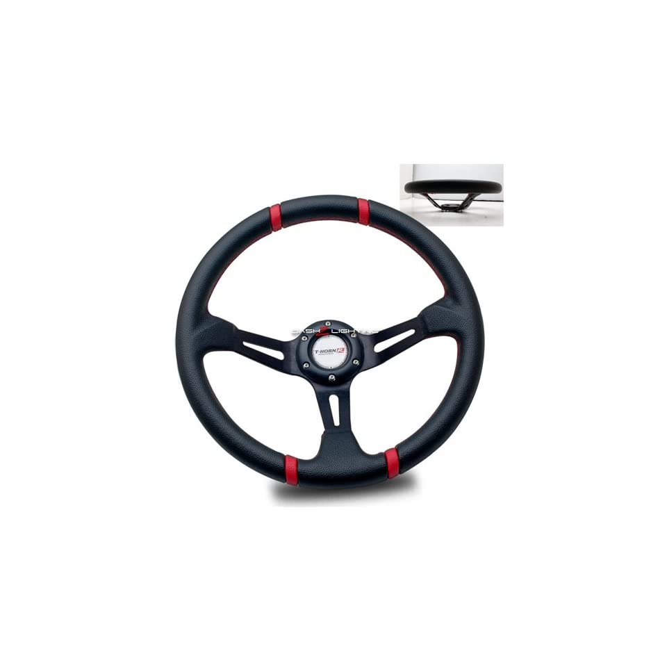 Deep Dish Style Racing Steering Wheel   Black With Red Stitches