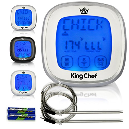 Chef King Barbecue Digital Thermometer with 2 Stainless Steel Probes, Refrigerator Magnets, and Instant Read Cooking - Silver (The Biggest Easter Basket Ever compare prices)