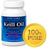 Viva Labs Krill Oil: 100% Pure Antarctic Krill Oil - Highest Levels of Omega-3s in the Industry, 1250mg/serving, 60 Capliques