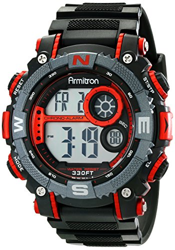 Armitron Sport Armitron Sport Men's 40/8284RED Large Metallic Red Accented Black Resin Strap Chronograph Digital Watch