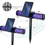 [2 in Set] BATTOP Solar LED Outdoor Mosquito Killer Lamp Bug Zapper 4 UV Light Enviromental-friendly Insect Control Way