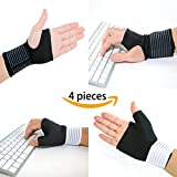 LifeLux Carpal Tunnel Wrist Brace / Support Pain Relief Pack. 4 Piece Wrist brace Thumb Support; Hand Compression Wrist Support. Relieve Wrist Pain, Aches From Carpal Tunnel, Arthritis, Tendinitis.