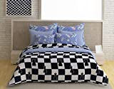 Story@Home 100% Cotton Double BedSheet with 2 Pillow Covers Superior Designer Classic Elegant Checks Printed Trendy Fancy White