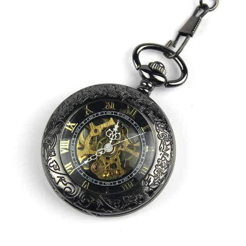 Armel® Steampunk Pocket Watch Pendant Roman Number Half Hunter - Antiqued Silver Black With Gift Box PW039