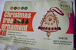 Vintage Walco Beaded Medallion Satin Bell Christmas Ornament Kit Makes 1
