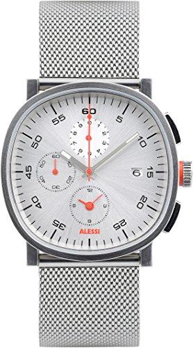Para hombre reloj infantil de cuarzo con Alessi plateado esfera cronográfica y plateado correa de acero inoxidable AL5030