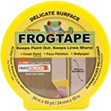 FrogTape 280220 Delicate Surface Painting Tape, .94-Inch x 60-Yard, Single Roll, Yellow