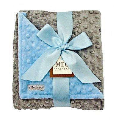 MEG Original Baby Boy Reversible Minky Dot Blanket Blue/Gray