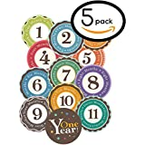 """Huge Sale! Stick'Nsnap(TM) 12 """"Happy Colors"""" Milestones First Year Monthly Growth Stickers For Baby Boy Or Girl... - B01AU2252I"""
