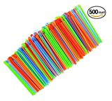 (500-Pack) Sno-Cone Spoon Drinking Straws Unwrapped, Assorted Neon Colors Disposable Plastic Straw, 7-1/4""