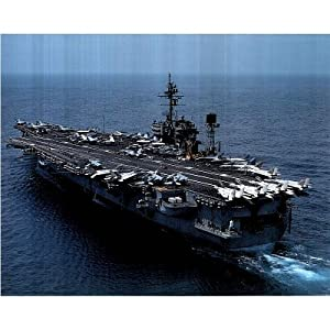 Professionally Framed Aircraft Carrier USS Constellation art Print POSTER USA - 16x20 with RichAndFramous Black Wood Frame