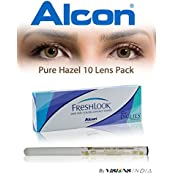Alcon Freshlook One-Day Pure Hazel Color Contact Lenses With Free Eye/Lip Liner (10 Lens Pack) By Visions India...