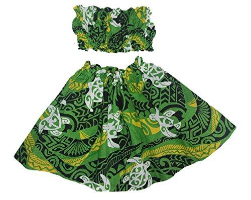 [Hula Girl Outfit Costume Hawaiian Polynesian Print (4T-5T, Green, Black, Yellow, Honu)] (Polynesian Girl Costume)