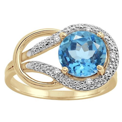 Blue Topaz and Diamond Love Knot Ring in 10K Gold