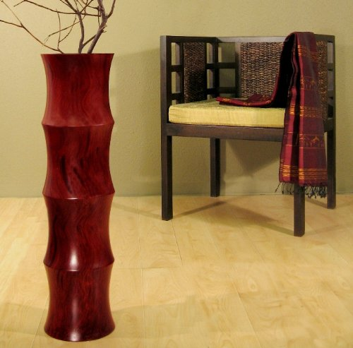 36 in. Mango Wood Scalloped Floor Vase