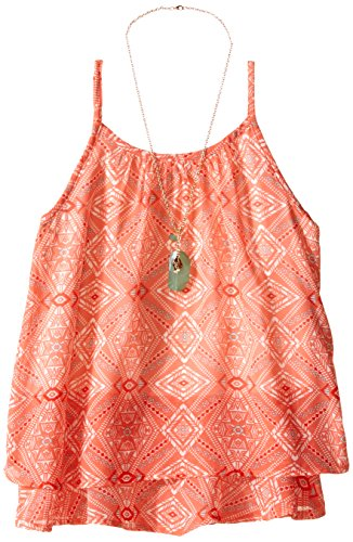 Speechless Big Girls Chiffon Layered Cami Style Top, Coral/Red, Large