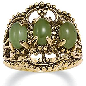Oval Shaped Green Genuine Jade 14k Yellow Gold-Plated Antique-Finish Triple-Stone Filigree Ring