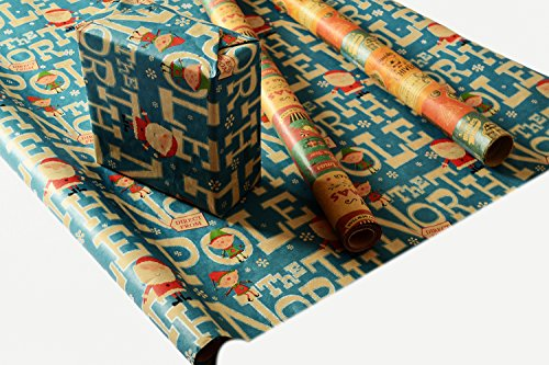 Retro Prints CHRISTMAS KRAFT WRAPPING PAPER (30 inches x 15 feet) 2