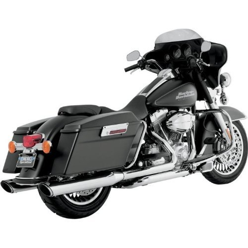 Vance and Hines Twin Slash Round 4in. Chrome Slip-On Exhaust for Harley Davidso - 4