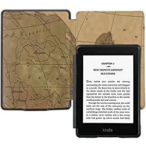 Brown Retro Map PU Leahter Case Cover for Amazon Kindle Paperwhite + Protector +Stylus