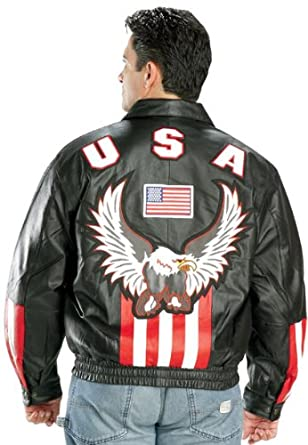 Mens Leather American USA Flag Eaglebr Bomber Jacket