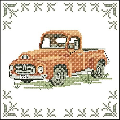 Antique Farm Truck Quilt Blocks Stamped Cross-Stitch