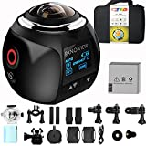 GBD Wireless 360 Degree Panoramic Camera 3D VR Live Video Full View Action Sports Camera with WiFi Waterproof 16MP 4K HD 0.96inch Screen 30fps 230° Large Lens Mini DV Player(Black)