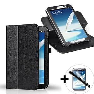 ForeFront Cases® - Étui en cuir synthétique avec support pour Samsung Galaxy Note 8.0 - mise en veille automatique par fermeture magnétique - stylet et protection écran inclus - Noir