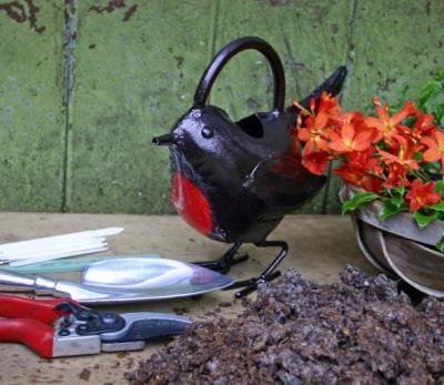 Bronze Watering Can - Robin - Bronze Gardening Gifts
