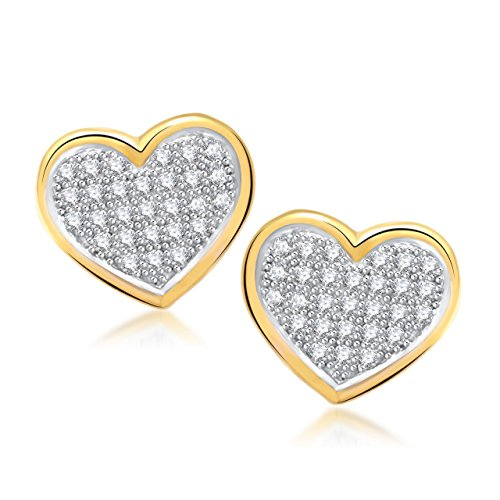 MEENAZ Big Girls' Micro Pave Heart Gold & Rhodium Plated CZ Earring White (Heart Gold Ring compare prices)