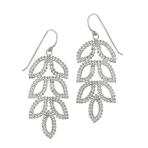 Sterling Silver Sparkle Linear Leaf French Wire Movement Earrings