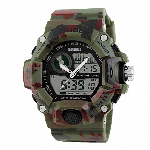 Gokelly®SKMEI militare Orologio digitale Unisex, da uomo al quarzo con allarme, calendario, cronometro, resistente agli urti