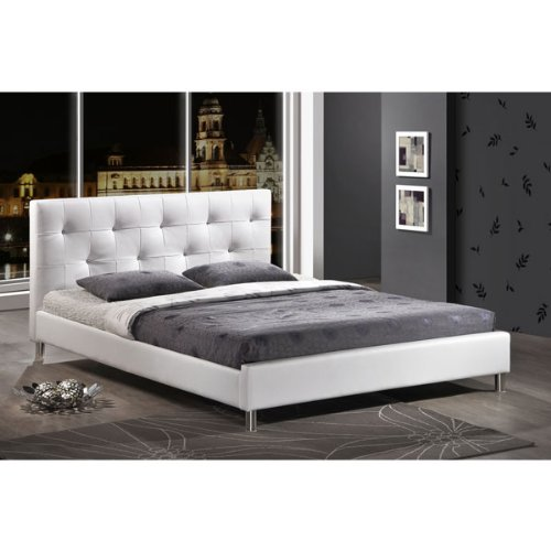 Barbara White Modern Bed with Crystal Button Tufting - Full Size (white) (35H x 57W x 81D)