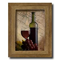 Red Grapes Wine Glass And Bottle Kitchen Tuscan Contemporary Home Decor Wall Picture 8x10 Art Print