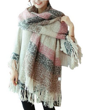 Women Scarf Mohair New Thick sweater shawl Moose Fringe (PINK)