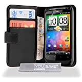 Yousave Accessories PU Leather Wallet Cover Case with Magnetic Close, Cash Card Slots, Screen Protector Film for HTC Desire S - Black