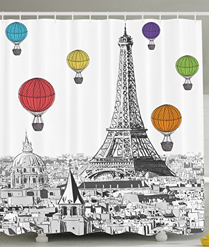 Paris Shower Curtain Eiffel Tower Cityscape Decor by Ambesonne, Notre Dame with Colorful Hot Air Balloons, Polyester Fabric Bathroom Set with Hooks, 69 x 70 Inches Long, Black White Red Blue Yellow (Balloon Shower Curtain compare prices)