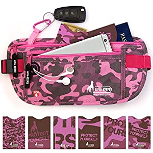 RFID Money Belt For Women, Unique Brand New Fanny Pack For Men And Women, Large, Easy To Carry Slim Fanny Pack & RFID Sleeve Set - Store Your iPhone, Keys, Passport, Credit Cards & More - Alpha Keeper