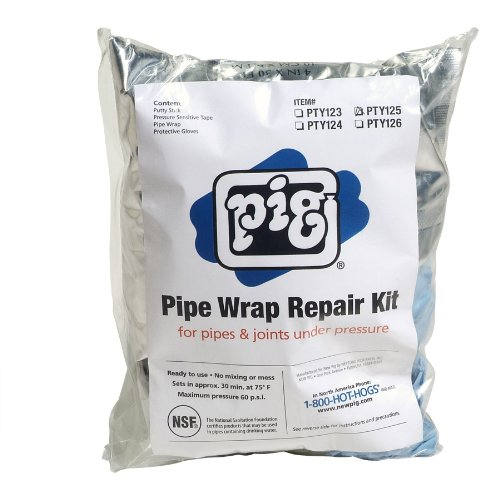 """New Pig Pty125 6 Piece Pipe Wrap Repair Kit, For 4-1/2"""" - 6"""" Diameter Pressurized Pipes And Joints"""