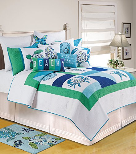 Meridian Waters Twin Quilt by C & F (Beach Theme Quilt Twin compare prices)