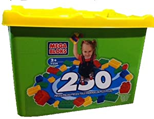 Mega Bloks 250 Piece Set With Large Green and Yellow Storage Tub