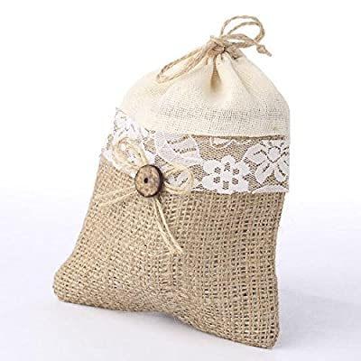 Set of 12 Natural Burlap Gift or Favor Bags with Canvas Top and Lace Trim