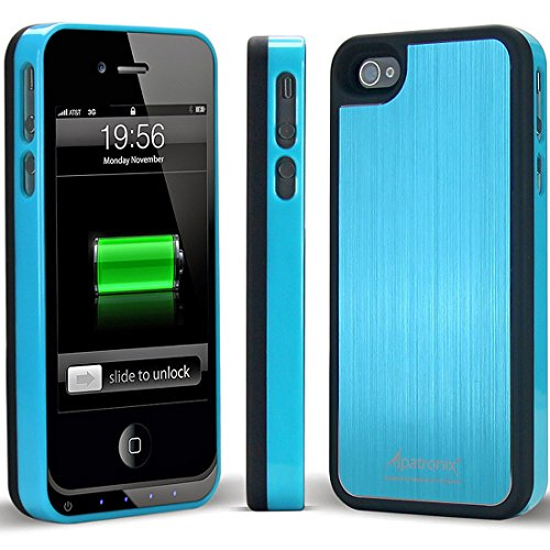 Alpatronix Mfi Apple Certified Bx100 1900Mah Iphone 4/4S Battery Charging Case (Ultra Slim Removable Extended Battery, Fits All Models Of Apple Iphone 4/4S - Retail Packaging) - Aluminum Blue/Black