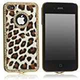 Leopard Rinestone Case For iPhone 4, 4S and 4G Natural Color