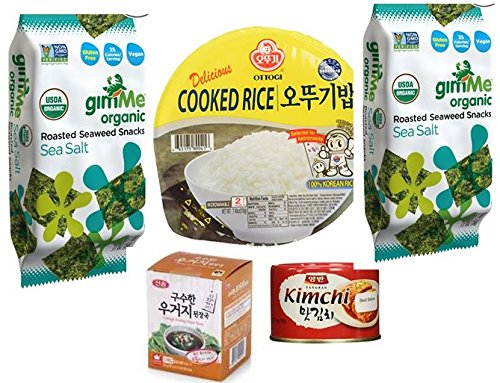 Cabbage Soybean Paste Soup + Kim Chi + Rice + 2 Roasted Seaweed (Gim) (Roasted Seaweed Kimchi compare prices)