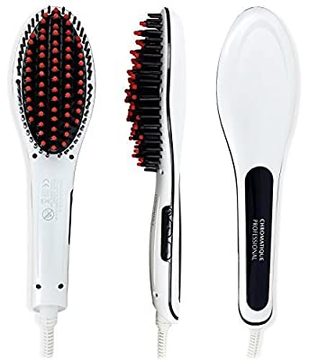 Chromatique Professional Original Hot Straightening Brush CPHSB26 LCD Adjustable Temperature Ionic Detangling Styling Silky Hair Flat Iron Dual Voltage Electric Heat Straightener Comb White