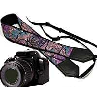 Ornamental camera strap. Beige, black and purple camera strap. Black original DSLR / SLR camera strap. Durable, light weight and well padded camera strap. code 00154