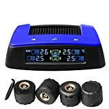 Vesafe Universal Solar TPMS M2, Wireless Color Screen Tire Pressure Monitoring System with 4 DIY External Cap Sesnors(0-6Bar/0-87Psi), Real-time Display 4 Tires' Pressure and Temperautre.