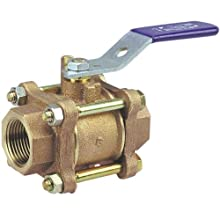 "NIBCO NL9750B Cast Bronze Ball Valve, Three-Piece, Lever Handle, 1-1/4"" Female NPT Thread (FIPT)"
