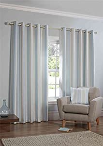 "Woven Stripe Duck Egg Blue Cream Fully Lined 90"" X 90"" - 229cm X 229cm Ring Top Curtains by Curtains Unique"